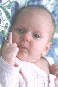 "A color picture of a baby ""giving"" the ""midle finger"""