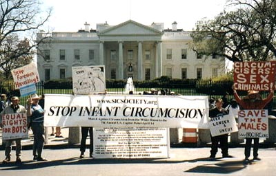 CLICK to see full screen picture of White House Protest April 1st 2000